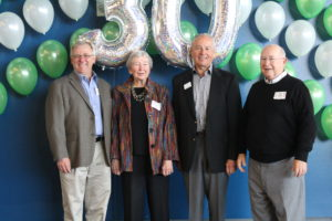 (L to R, Eric Fritch (keynote speaker and owner of Chinook Lumber), Marian Berge, Mal Harding (SEF Founding Members) and Dr. Bill Mester (Snohomish School District Superintendent)
