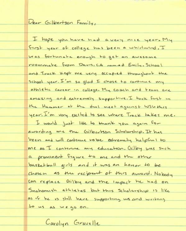 2013 Carolyn Gravelle Gilbertson scholarship renewal letter